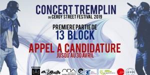 Cergy Street Festival - Appel à candidature première partie de 13 Block